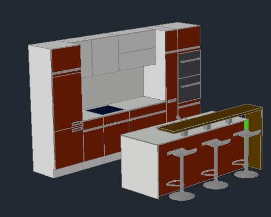 Mobilyalar kategorisi autocad projeleri for Planos para hacer una cocina integral